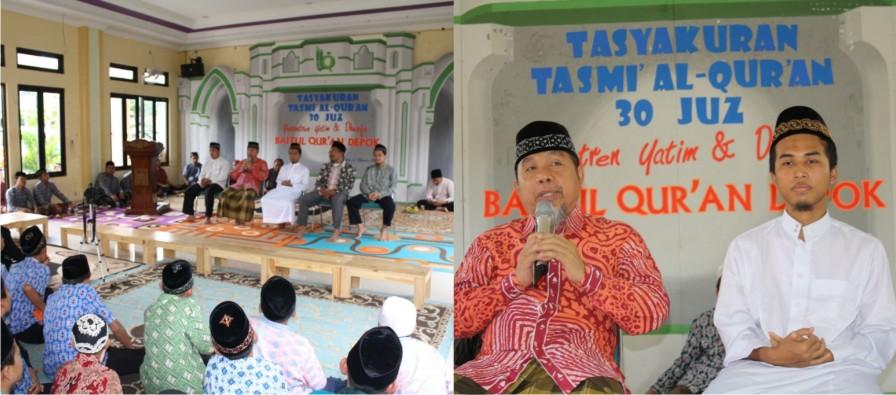 tasyakur tahfidz 30 juz sekali duduk oleh santri pesantren Baitul Qur'an